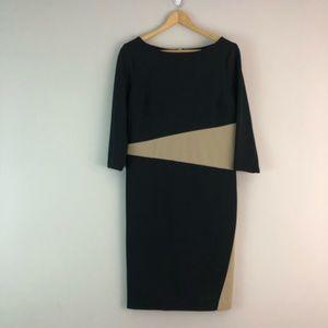 Ann Taylor career dress black tan 8